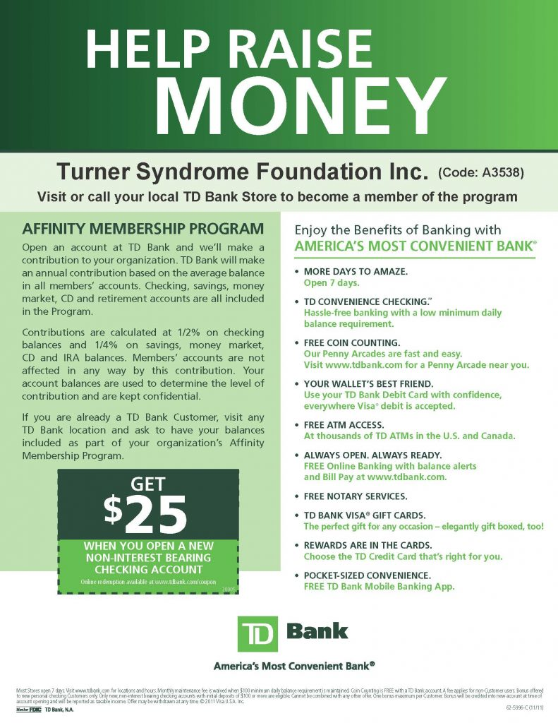support turner syndrome foundation with the td bank